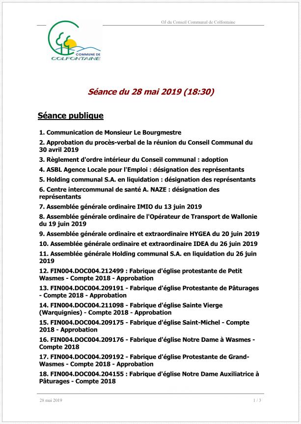 Conseil Communal du 28 mai 2019